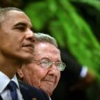 Barack Obama and Raoul Castro   ADALBERTO ROQUE / AFP
