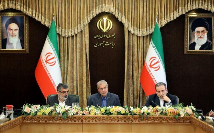 Behrouz Kamalvandi (g), Ali Rabiei et Abbas Araghchi