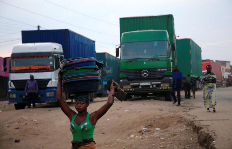 frontière de Mpondwe qui sépare l'Ouganda et la République démocratique du Congo